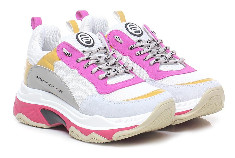 Sneaker Fuxia/ocra/grigio Fornarina Verschleißfeste billige Schuhe