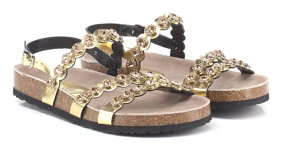 Sandalo basso Gold Rebecca White Mode billige Schuhe