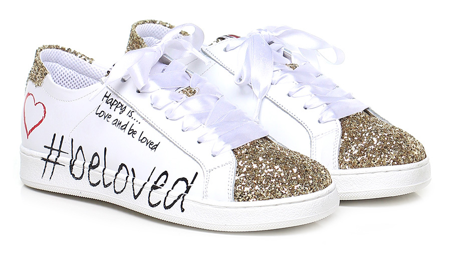 Sneaker Bianco/oro Alberto Venturini Verschleißfeste billige Schuhe