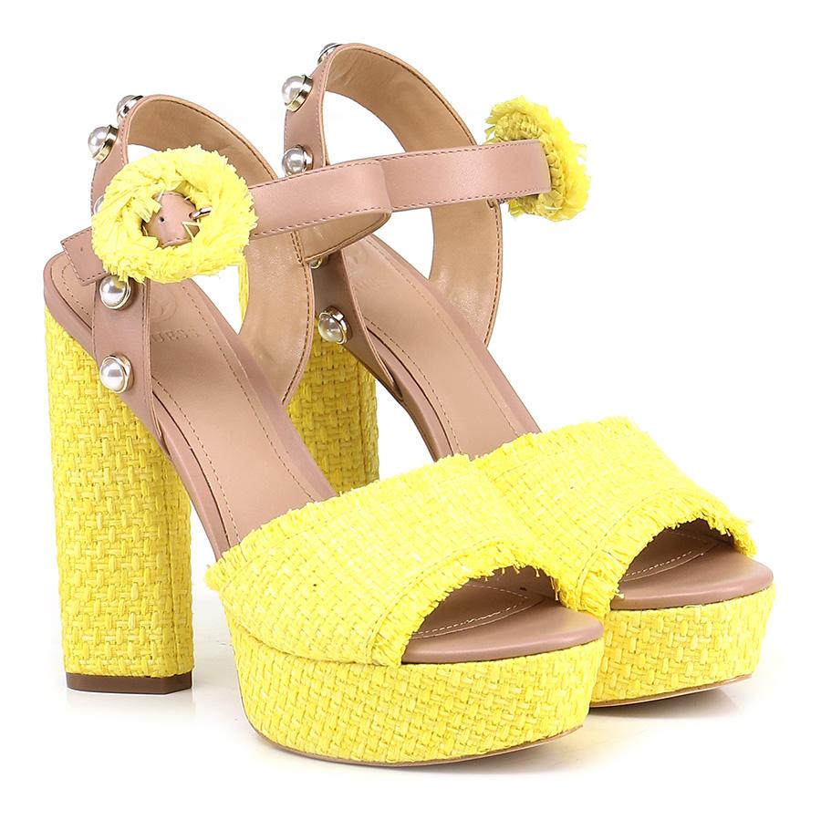 Sandalo alto Yellow/nude Guess Verschleißfeste billige Schuhe
