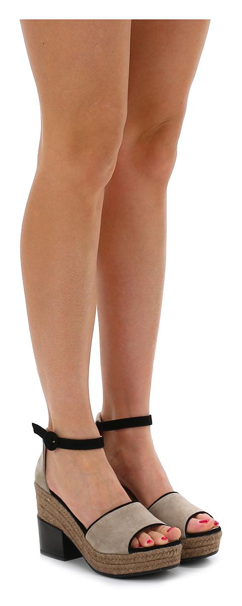 Sandalo alto Fumo/nero Espadrilles Verschleißfeste billige Schuhe