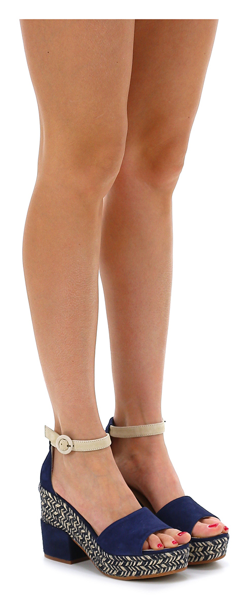 Sandalo alto Blu/crema Espadrilles Verschleißfeste billige Schuhe