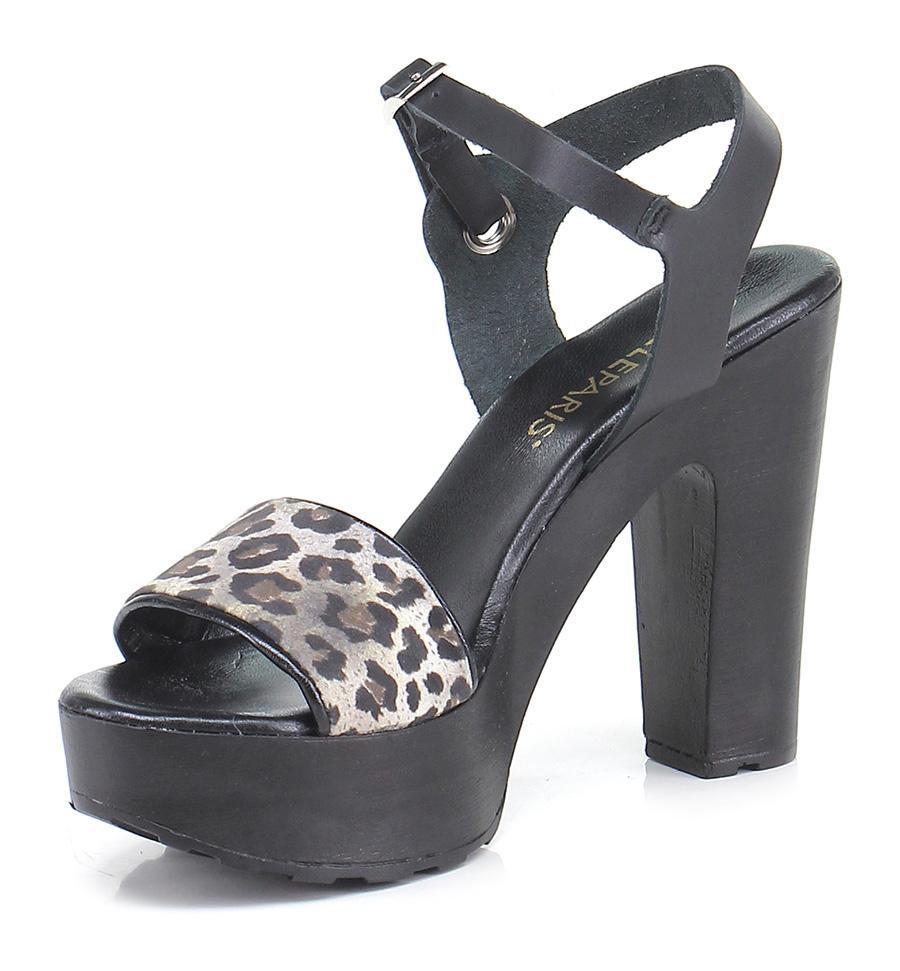 Sandalo alto Nero/leopard Gisele Paris Hohe Qualität