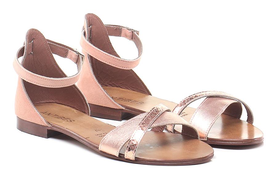 Sandalo basso Rame/rosa Antibes Mode billige Schuhe