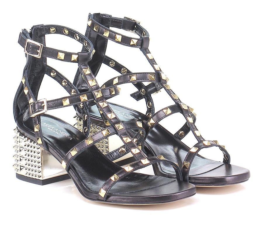 Sandalo alto  Nero/oro Alexandra