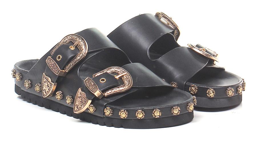 Sandalo basso Black Rebecca White Mode billige Schuhe