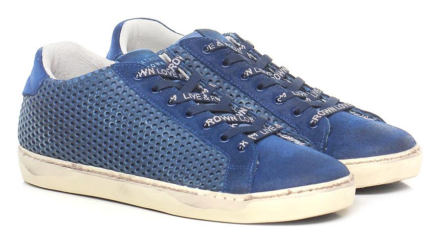 Sneaker Blue Leather Crown Verschleißfeste billige Schuhe