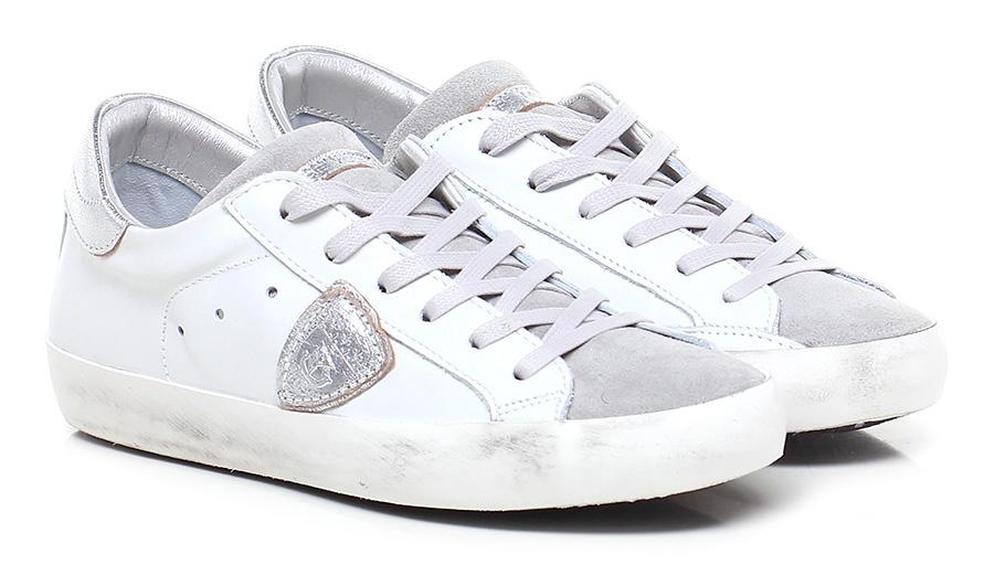 Sneaker White/silver/grey Philippe Model Paris Mode billige Schuhe