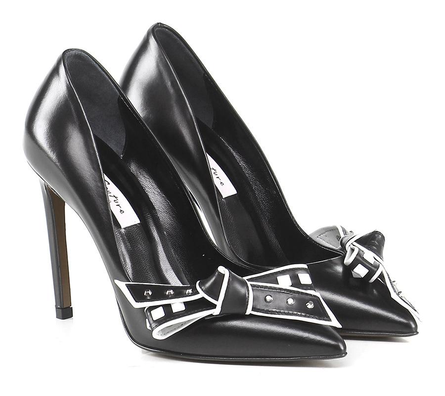 Scarpa con tacco Nero/bianco Couture Hohe Qualität