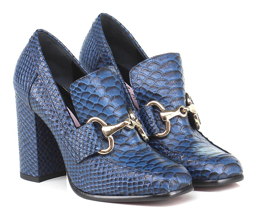 Scarpa con tacco Blu/nero Couture Hohe Qualität