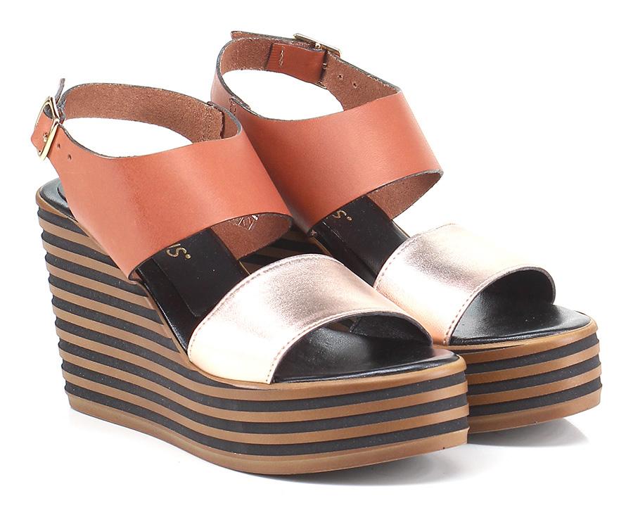 Zeppa Bronzo\cuoio Gisele Paris Mode billige Schuhe