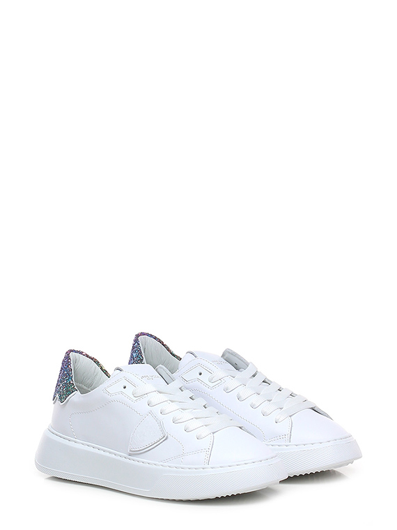 Sneaker temple low w veau glitter blanc