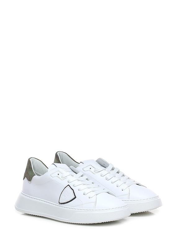Sneaker temple low man veau cam blanc