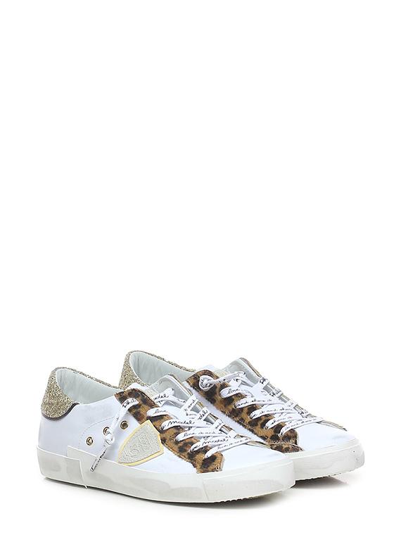 Sneaker prsx low w glitter anim blanc beige