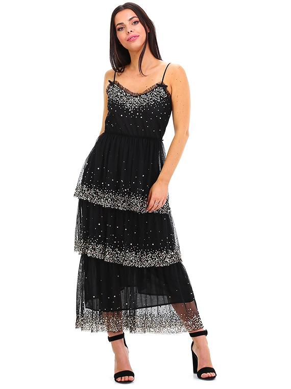 Vestito nero lungo twin set
